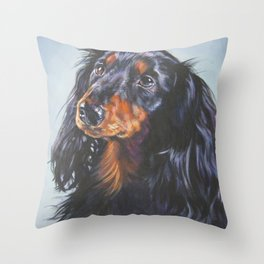 long haired Dachshund art portrait from an original painting by L.A.Shepard Throw Pillow