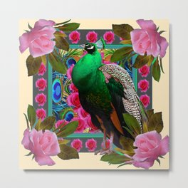 GREEN PEACOCK & PINK ROSE  FLOWERS CREAM ART Metal Print