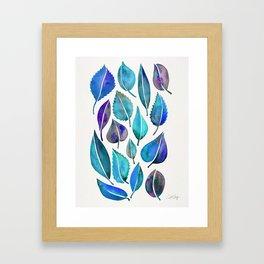Cascading Leaves – Blue Palette Framed Art Print