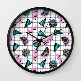 It's Casual - memphis throwback retro neon squiggle grid shapes geometric black and white modern art Wall Clock