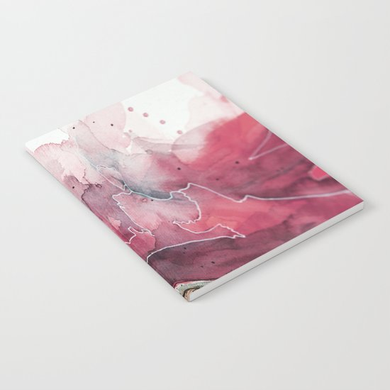 Watercolor pink & green, abstract texture Notebook