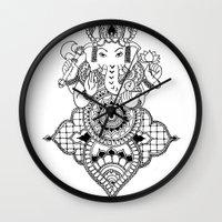 ganesh Wall Clocks featuring Ganesh by N.I.S.