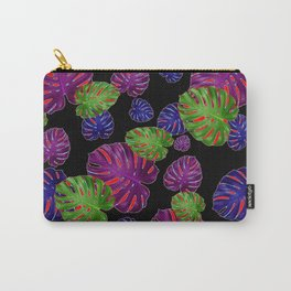 TROPICAL PURPLE-GREEN  LEAVES BLACK ART PATTERNS Carry-All Pouch