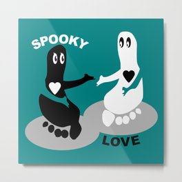 Spooky Love  Footprint ghost Metal Print
