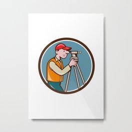 Surveyor Geodetic Engineer Theodolite Circle Cartoon Metal Print