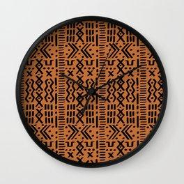 Mudcloth No. 1 in Ochre + Black Wall Clock