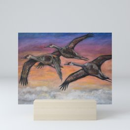 Sandhill Cranes in Flight Mini Art Print