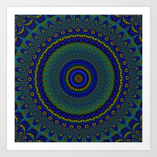 blue yellow mandala Art Print