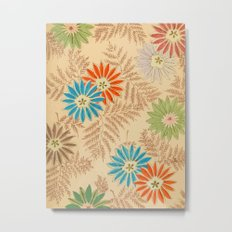 Japanese Vintage Flowers Pattern Metal Print