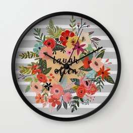 Laugh Often Floral Wall Clock