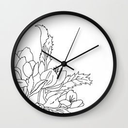 VESSEL - Floral Ink in Peacock & Mint - Cooper and Colleen Wall Clock
