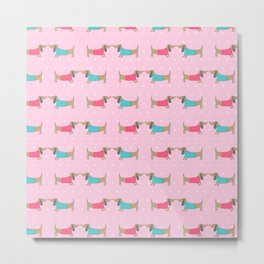 Cute dog lovers with dots in pink background Metal Print