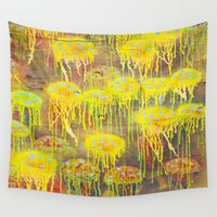polka dot Wall Tapestries featuring Polka Dot Jellyfish by mark jones