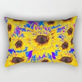 SURREAL FUCHSIA BLUEW SUNFLOWERS  MODERN ART Rectangular Pillow