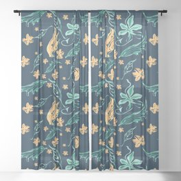 Summer blue, yellow and teal - floral Sheer Curtain