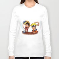 luffy Long Sleeve T-shirts featuring Luffy And Naruto eating Ramen by mannynunez