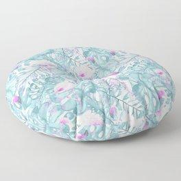 Neon pink green watercolor flamingo tropical leaves Floor Pillow