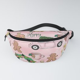 THE VERY PINK CHRISTMAS WATERCOLOR PATTERN Fanny Pack