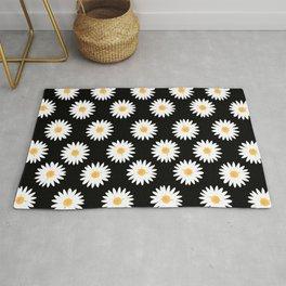 Daisy black pattern Rug