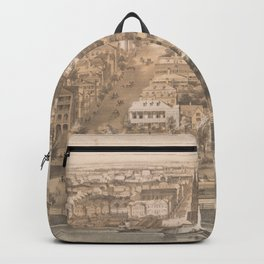Vintage Pictorial Map of Charleston SC (1851) Backpack