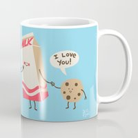 milk Mugs featuring Cookie Loves Milk by Jessica Fink