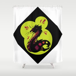 African Civet (Civettictis civetta) Watermelon/Lime Palette Shower Curtain