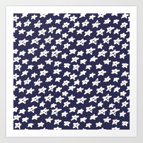 Stars on blue background Art Print