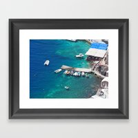 Boats of Santorini Framed Art Print