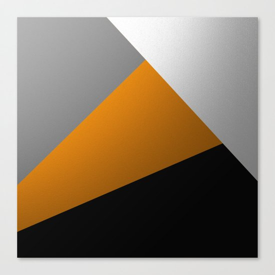 Metallic I - Abstract, geometric, metallic textured gold, silver and black metal effect artwork Canvas Print