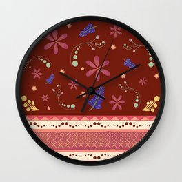 Otavalo print - red Wall Clock