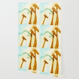 Family of giraffes rides a bicycle-tandem Wallpaper
