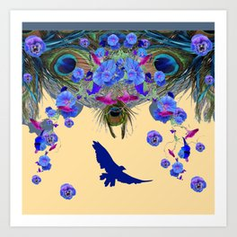 BLUE MORNING GLORIES & FLYING BLUE BIRD ART Art Print