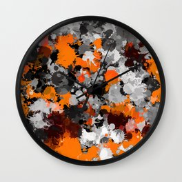 Orange and Grey Paint Splatter Wall Clock