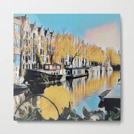 Watercolor Amsterdam Canal Metal Print