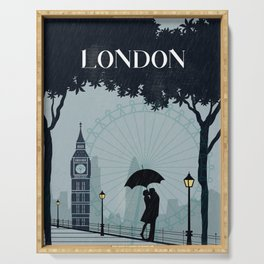 London vintage poster travel Serving Tray
