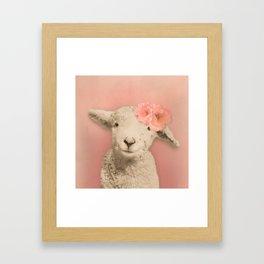 Flower Sheep Girl Portrait, Dusty Flamingo Pink Background Framed Art Print