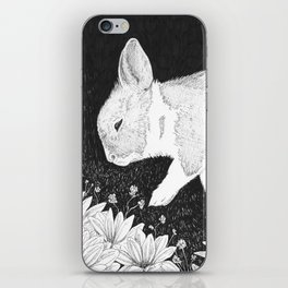 bunny in black and white iPhone Skin