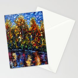 Autumn Forest River  (Palette Knife) Stationery Cards