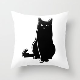 Cat Black Silhouette Pet Animal Cool Style Throw Pillow