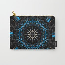 Buffalo Skull and Feathers (Blue) Carry-All Pouch