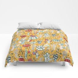Succulents in yellow desert Comforters