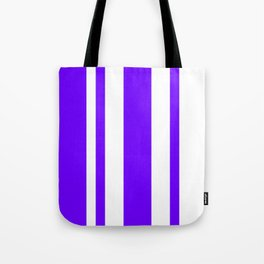 Mixed Vertical Stripes - White and Indigo Violet Tote Bag