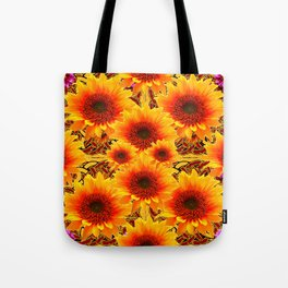 Golden Sunflowers on Sunflowers Floral Patterns Tote Bag