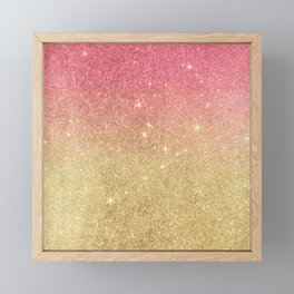 Pink abstract gold ombre glitter Framed Mini Art Print