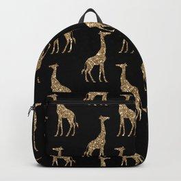 Black Gold Glitter Giraffe Pattern Backpack