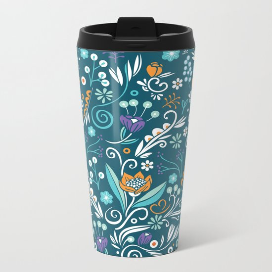 Flower circle pattern, blue Metal Travel Mug