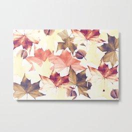Fall Leaves, Autumn Colors Pattern. Metal Print