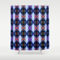 outer space Shower Curtains featuring Lost In Outer Space by Arvarna Zia Designs