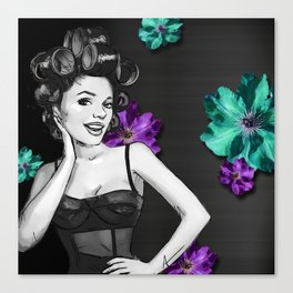 Retro Pinup Girl Hair Rollers & Flowers Canvas Print