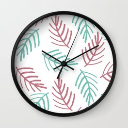 Trendy Pink Teal Hand Painted Christmas Spruce Branches Wall Clock